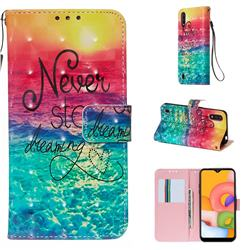 Colorful Dream Catcher 3D Painted Leather Wallet Case for Samsung Galaxy A01