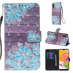 Blue Flower 3D Painted Leather Wallet Case for Samsung Galaxy A01