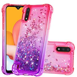 Rainbow Gradient Liquid Glitter Quicksand Sequins Phone Case for Samsung Galaxy A01 - Pink Purple