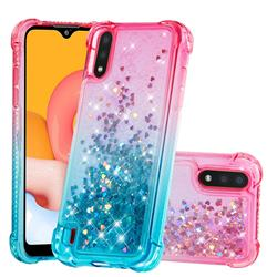 Rainbow Gradient Liquid Glitter Quicksand Sequins Phone Case for Samsung Galaxy A01 - Pink Blue