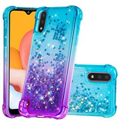 Rainbow Gradient Liquid Glitter Quicksand Sequins Phone Case for Samsung Galaxy A01 - Blue Purple