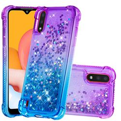 Rainbow Gradient Liquid Glitter Quicksand Sequins Phone Case for Samsung Galaxy A01 - Purple Blue