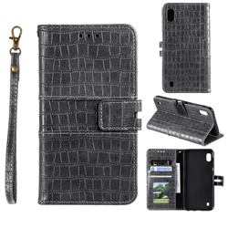 Luxury Crocodile Magnetic Leather Wallet Phone Case for Samsung Galaxy A01 - Gray
