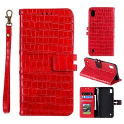 Luxury Crocodile Magnetic Leather Wallet Phone Case for Samsung Galaxy A01 - Red