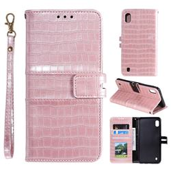 Luxury Crocodile Magnetic Leather Wallet Phone Case for Samsung Galaxy A01 - Rose Gold