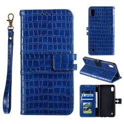 Luxury Crocodile Magnetic Leather Wallet Phone Case for Samsung Galaxy A01 - Blue