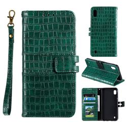 Luxury Crocodile Magnetic Leather Wallet Phone Case for Samsung Galaxy A01 - Green
