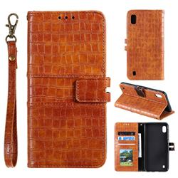 Luxury Crocodile Magnetic Leather Wallet Phone Case for Samsung Galaxy A01 - Brown