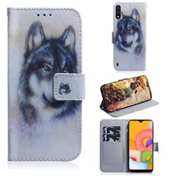 Snow Wolf PU Leather Wallet Case for Samsung Galaxy A01