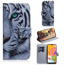 White Tiger PU Leather Wallet Case for Samsung Galaxy A01