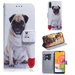 Pug Dog PU Leather Wallet Case for Samsung Galaxy A01