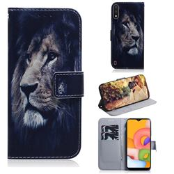 Lion Face PU Leather Wallet Case for Samsung Galaxy A01