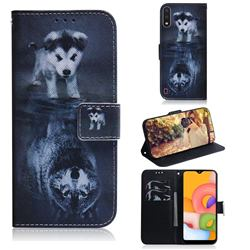 Wolf and Dog PU Leather Wallet Case for Samsung Galaxy A01