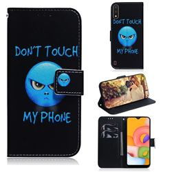 Not Touch My Phone PU Leather Wallet Case for Samsung Galaxy A01
