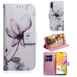 Magnolia Flower PU Leather Wallet Case for Samsung Galaxy A01