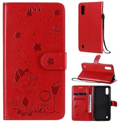 Embossing Bee and Cat Leather Wallet Case for Samsung Galaxy A01 - Red