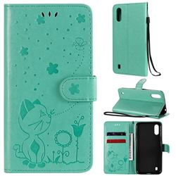Embossing Bee and Cat Leather Wallet Case for Samsung Galaxy A01 - Green