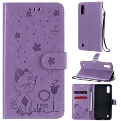 Embossing Bee and Cat Leather Wallet Case for Samsung Galaxy A01 - Purple
