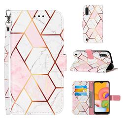 Pink White Stitching Color Marble Leather Wallet Case for Samsung Galaxy A01