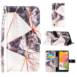 Black and White Stitching Color Marble Leather Wallet Case for Samsung Galaxy A01