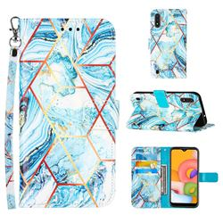 Lake Blue Stitching Color Marble Leather Wallet Case for Samsung Galaxy A01