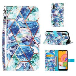 Green and Blue Stitching Color Marble Leather Wallet Case for Samsung Galaxy A01