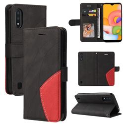 Luxury Two-color Stitching Leather Wallet Case Cover for Samsung Galaxy A01 - Black