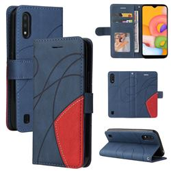 Luxury Two-color Stitching Leather Wallet Case Cover for Samsung Galaxy A01 - Blue