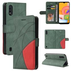 Luxury Two-color Stitching Leather Wallet Case Cover for Samsung Galaxy A01 - Green