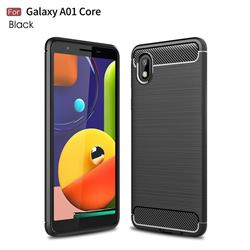 Luxury Carbon Fiber Brushed Wire Drawing Silicone TPU Back Cover for Samsung Galaxy A01 Core - Black