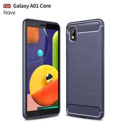 Luxury Carbon Fiber Brushed Wire Drawing Silicone TPU Back Cover for Samsung Galaxy A01 Core - Navy