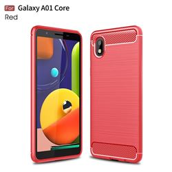Luxury Carbon Fiber Brushed Wire Drawing Silicone TPU Back Cover for Samsung Galaxy A01 Core - Red