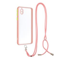 Necklace Cross-body Lanyard Strap Cord Phone Case Cover for Samsung Galaxy A01 Core - Pink
