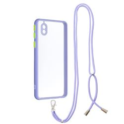 Necklace Cross-body Lanyard Strap Cord Phone Case Cover for Samsung Galaxy A01 Core - Purple