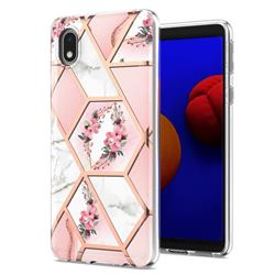 Pink Flower Marble Electroplating Protective Case Cover for Samsung Galaxy A01 Core