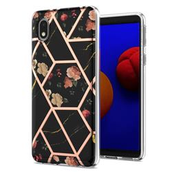Black Rose Flower Marble Electroplating Protective Case Cover for Samsung Galaxy A01 Core