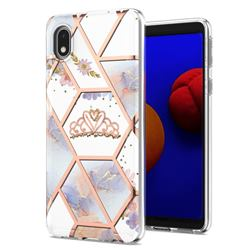 Crown Purple Flower Marble Electroplating Protective Case Cover for Samsung Galaxy A01 Core