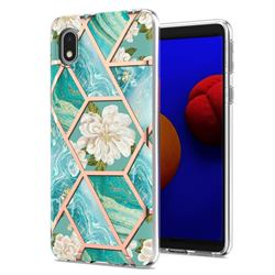 Blue Chrysanthemum Marble Electroplating Protective Case Cover for Samsung Galaxy A01 Core