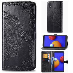 Embossing Imprint Mandala Flower Leather Wallet Case for Samsung Galaxy A01 Core - Black