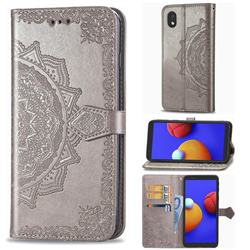 Embossing Imprint Mandala Flower Leather Wallet Case for Samsung Galaxy A01 Core - Gray