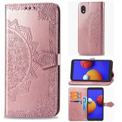 Embossing Imprint Mandala Flower Leather Wallet Case for Samsung Galaxy A01 Core - Rose Gold
