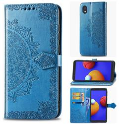 Embossing Imprint Mandala Flower Leather Wallet Case for Samsung Galaxy A01 Core - Blue