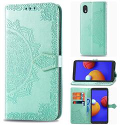 Embossing Imprint Mandala Flower Leather Wallet Case for Samsung Galaxy A01 Core - Green