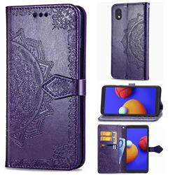 Embossing Imprint Mandala Flower Leather Wallet Case for Samsung Galaxy A01 Core - Purple