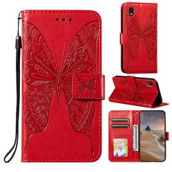 Intricate Embossing Vivid Butterfly Leather Wallet Case for Samsung Galaxy A01 Core - Red