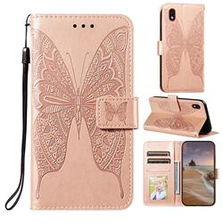 Intricate Embossing Vivid Butterfly Leather Wallet Case for Samsung Galaxy A01 Core - Rose Gold
