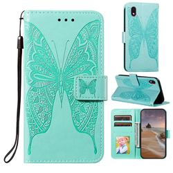 Intricate Embossing Vivid Butterfly Leather Wallet Case for Samsung Galaxy A01 Core - Green