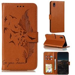 Intricate Embossing Lychee Feather Bird Leather Wallet Case for Samsung Galaxy A01 Core - Brown
