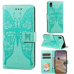 Intricate Embossing Rose Flower Butterfly Leather Wallet Case for Samsung Galaxy A01 Core - Green