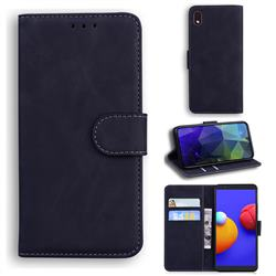 Retro Classic Skin Feel Leather Wallet Phone Case for Samsung Galaxy A01 Core - Black
